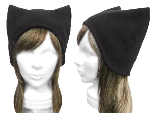 シンプル ネコ耳帽子(ゆったり)◆フリースニット/ブラックの画像1枚目
