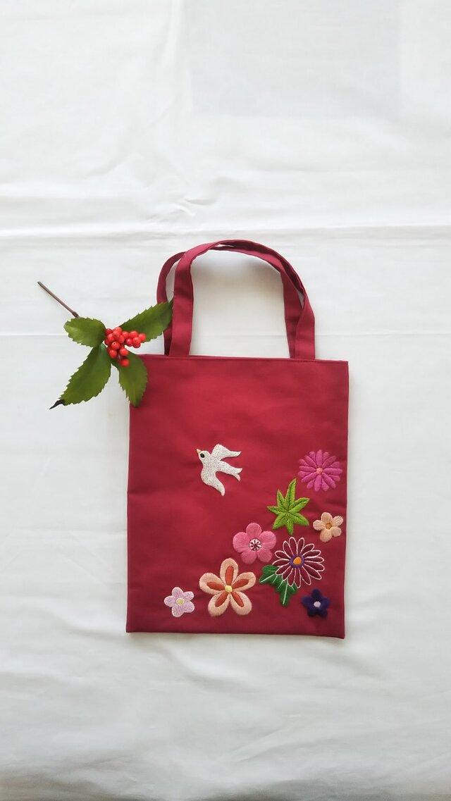 小鳥と花の和風ミニバッグの画像1枚目