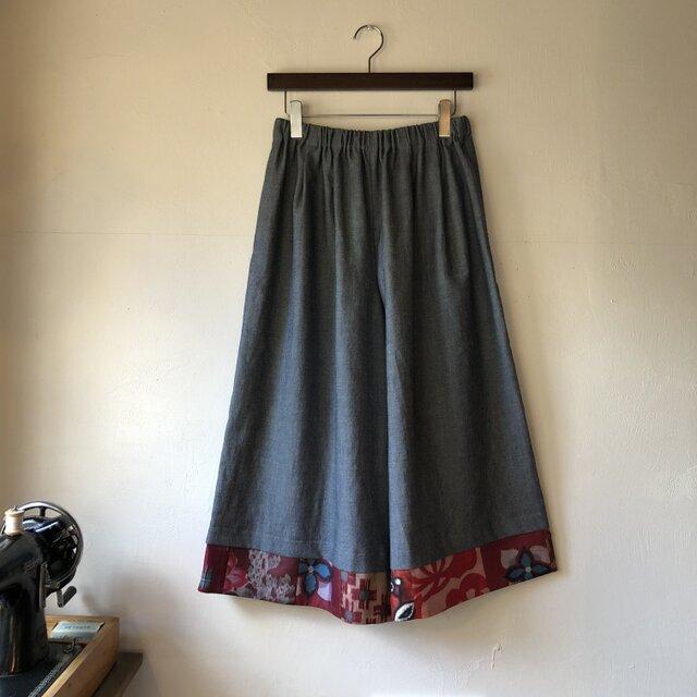 播州織×銘仙パッチワーク「いろいろ銘仙のガウチョパンツⅢ」129デニム スカーチョ ワイドパンツの画像1枚目