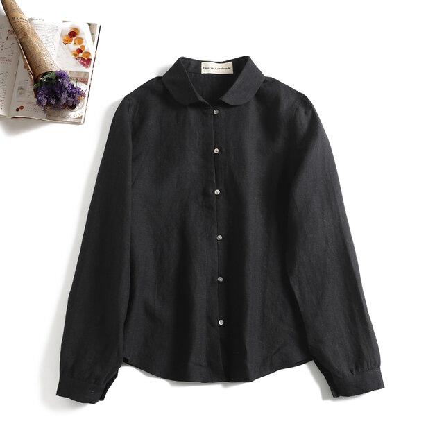 シンプルなシャツスタイルこそこだわりを。麻のシャツ 長袖シャツ ブラック1203-1の画像1枚目