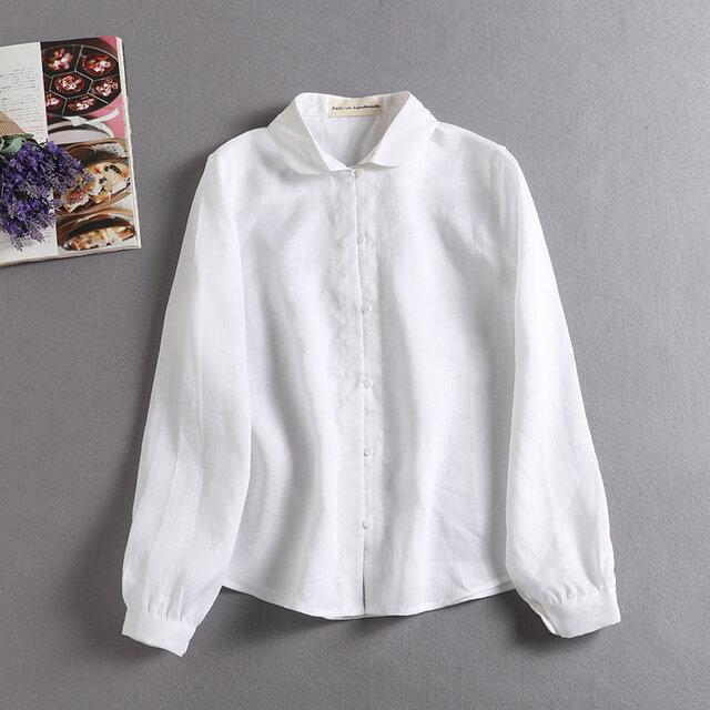 シンプルなシャツスタイルこそこだわりを。麻のシャツ 長袖シャツ ホワイトの画像1枚目