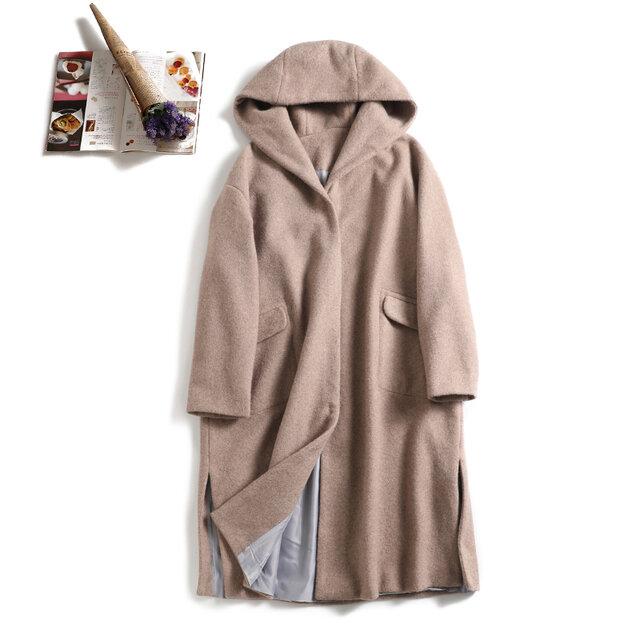 軽くて暖かいウールコート フードデザインロングコート ミルクティーベージュの画像1枚目