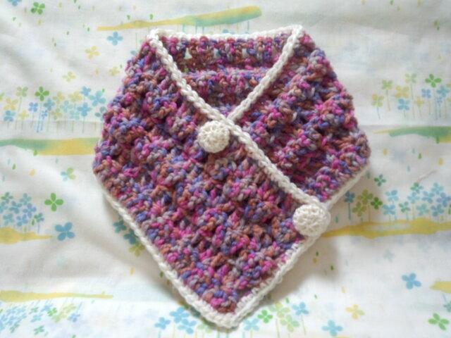 手縫い屋☆編み編み☆おしゃれネックウォーマー64㎝☆紫桃色混ざり&白☆くるみボタン2個☆ウール100%☆ギフトの画像1枚目