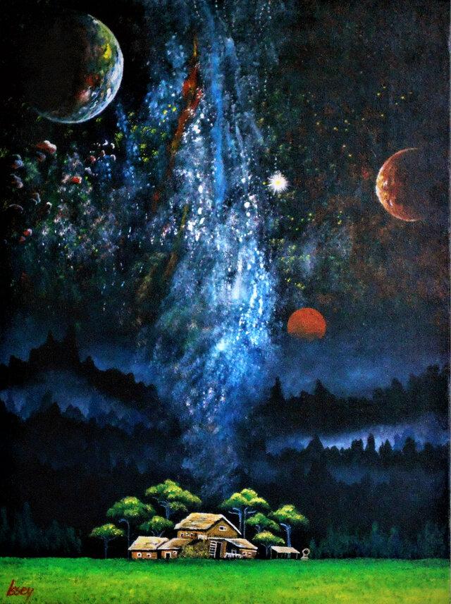 赤い月と銀河の降る星の画像1枚目
