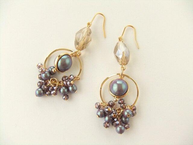 金具変更OK Pierces or Earrings  淡水パール ガラス(P0846)の画像1枚目
