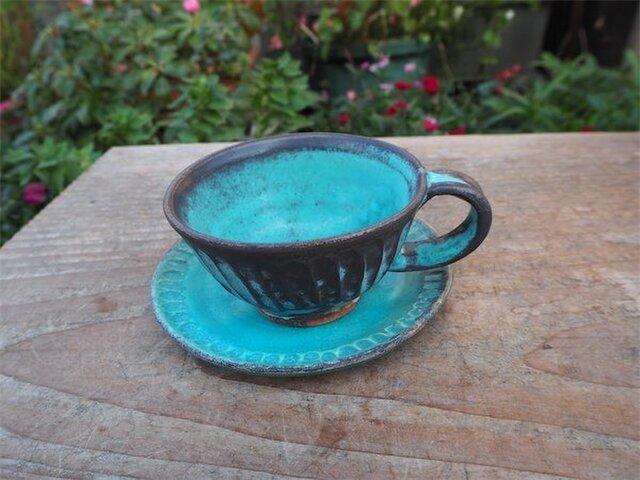 ブルー器 カップとソーサ[18Dec-14]《釉薬》の画像1枚目