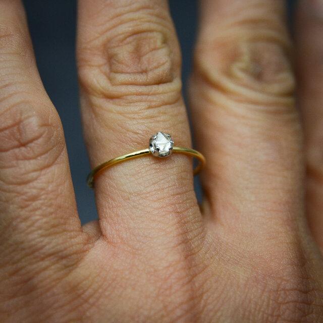 ラフダイヤモンド(ダイヤモンド原石)K18YG-Pt900の細い指環 0.21ctの画像1枚目