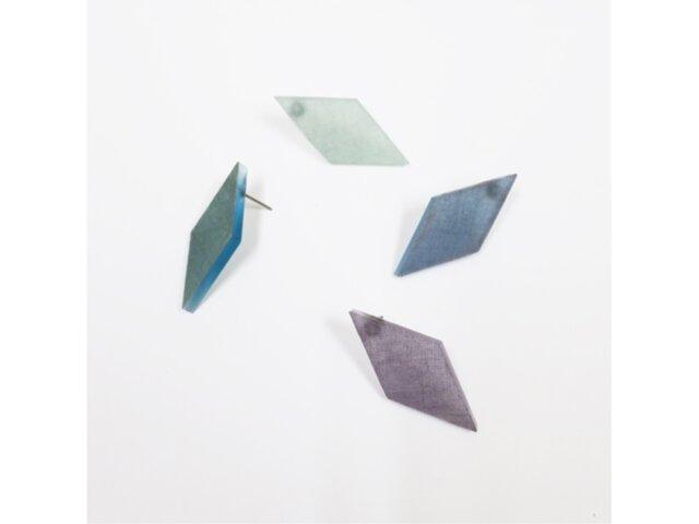 4色から選ぶ[片耳用ピアス]藍染め幾何学/E-6_DS_AIの画像1枚目