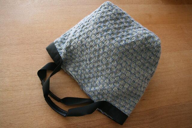北欧手織りウールトートバッグ(ブルー)の画像1枚目