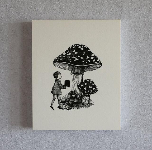 イラストパネル(キノコと少年)の画像1枚目