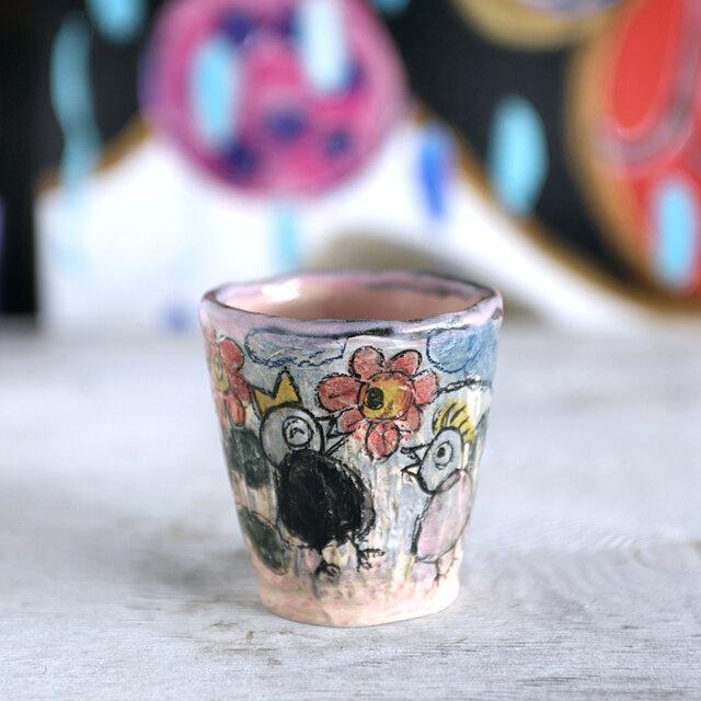 手捻りカップ・花と歌う鳥の画像1枚目