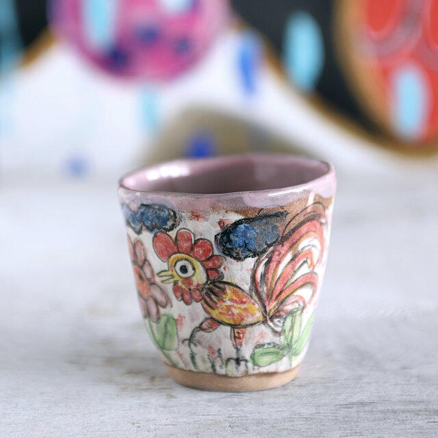 手捻りカップ・鶏と赤富士の画像1枚目