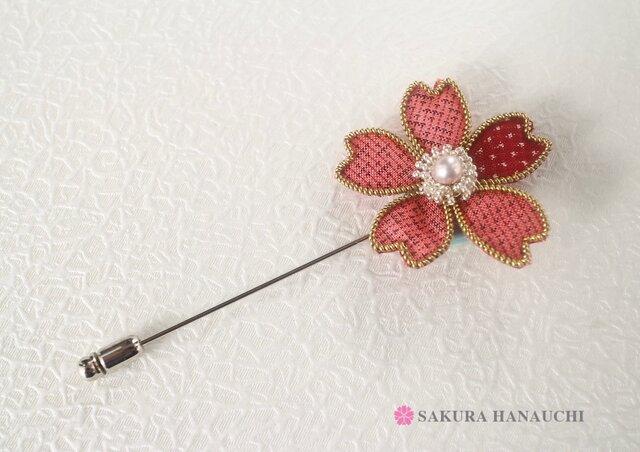桜のピンブローチ 大島紬朱 9004の画像1枚目