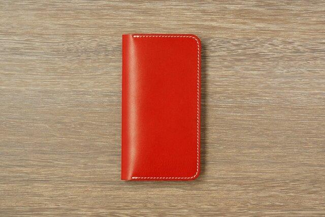 牛革 iPhone XS Max カバー  ヌメ革  レザーケース  手帳型  レッドカラーの画像1枚目