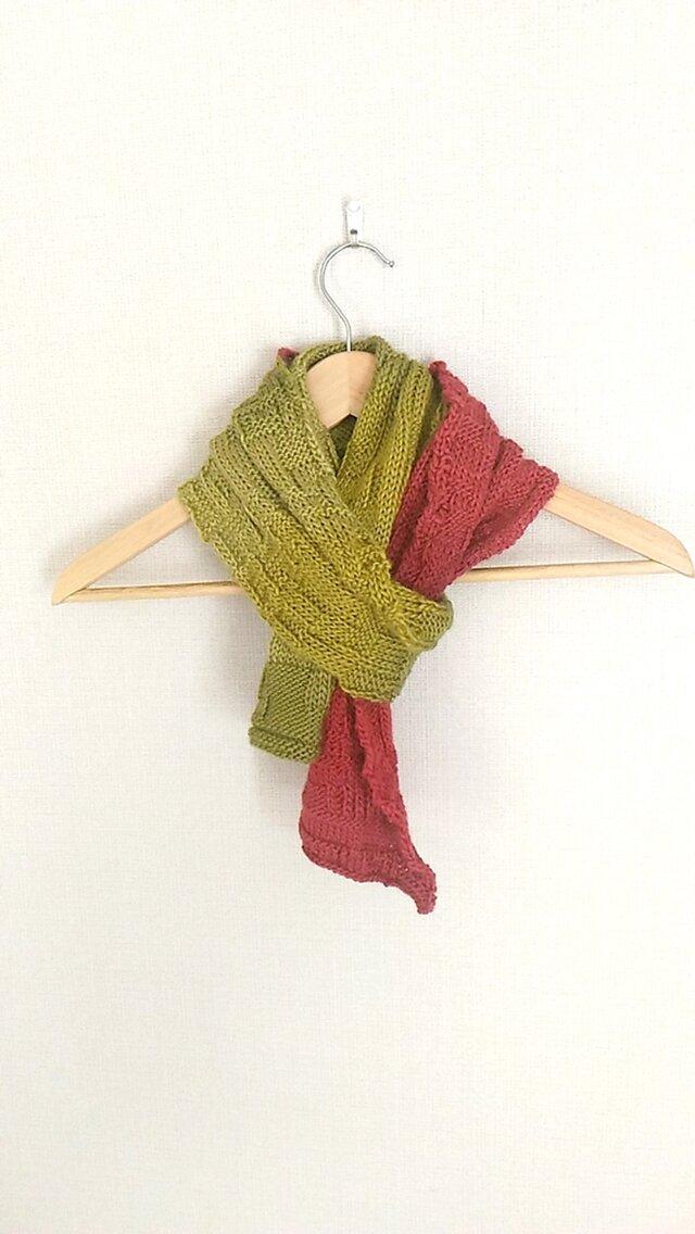 イギリス製毛糸100%アルパカ,ニットのマフラーの画像1枚目