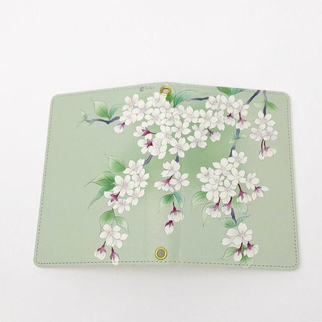 パスポートケース / 桜 さくら * 白緑の画像1枚目