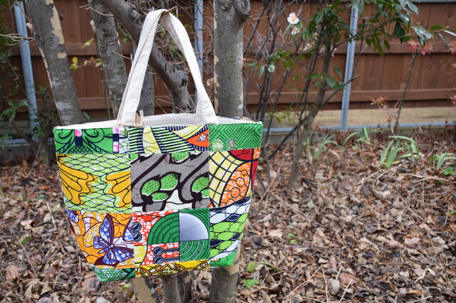 k140-アフリカ布パッチワーク保冷バッグの画像1枚目