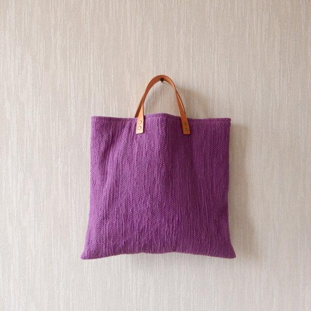 【SALE】裂き織りのくたっり手さげバッグの画像1枚目