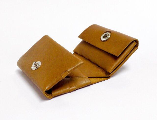 コンパクト三つ折り財布 イタリアンカーフ キャメル/組み立ての画像1枚目