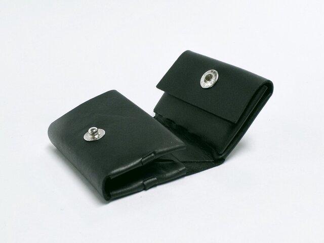 コンパクト三つ折り財布 グリーン/イタリアンカーフ/組み立ての画像1枚目