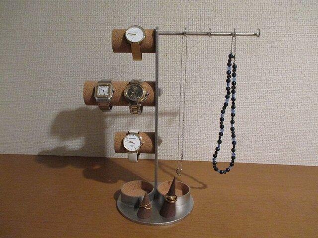 新作!上段、下段女性用時計掛け、中段男性用時計掛け、ネックレス、リング、ダブルトレイアクセサリースタンドの画像1枚目