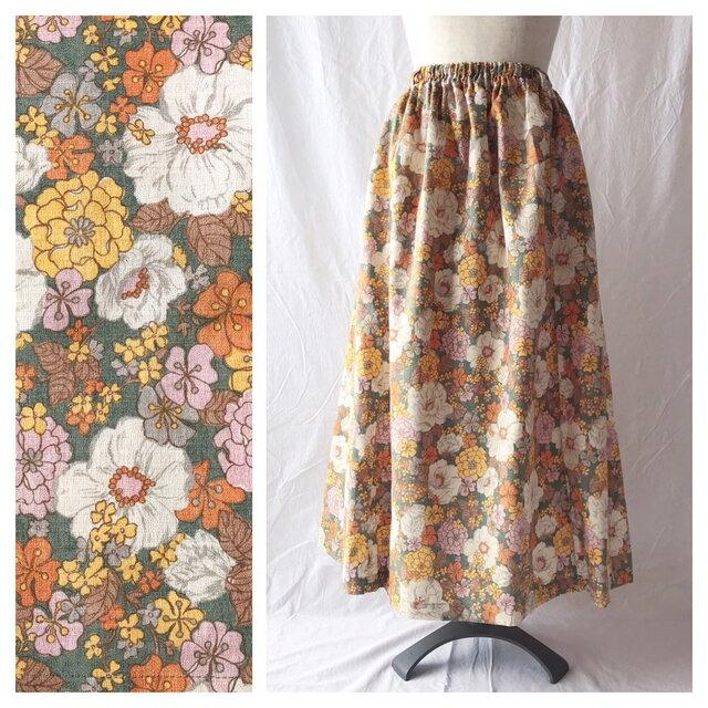 【むっちりさんもOK】すっきりレクタングルスカート(スプリングガーデン:オリーブ)の画像1枚目