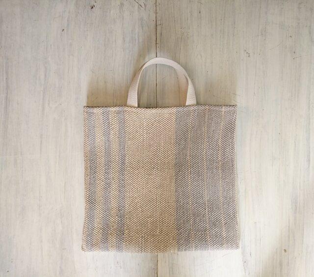 裂き織りのくたっり手さげバッグの画像1枚目