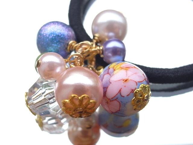 ヘアゴム 桜の陶器ビーズ 春 和風 和柄 お花見 入学式 卒業式 さくら サクラの画像1枚目