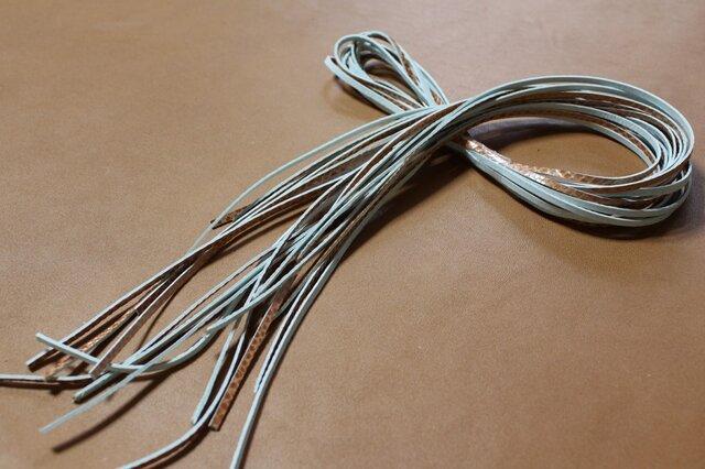 本革紐(茶系メタリック)3mm幅×1M×10本 裏面毛羽処理済の画像1枚目