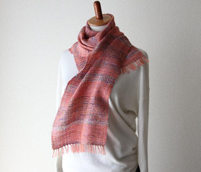 ふんわり春色アクリルコットン手織りストール/薄手 コーラルピンク/プレゼントにもの画像1枚目