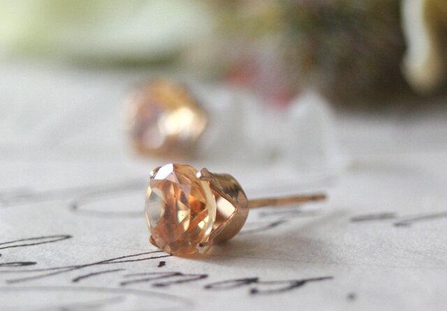 6mm大粒*シトリン14kgf 宝石質天然石 ピアス 片耳 誕生日 クリスマス プレゼント 結婚式 ウエディングの画像1枚目