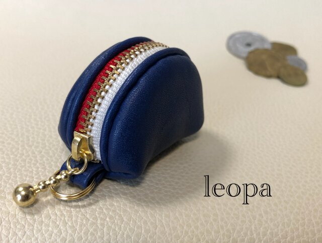 ミニコロ 青 2色ファスナー(白&赤)の画像1枚目