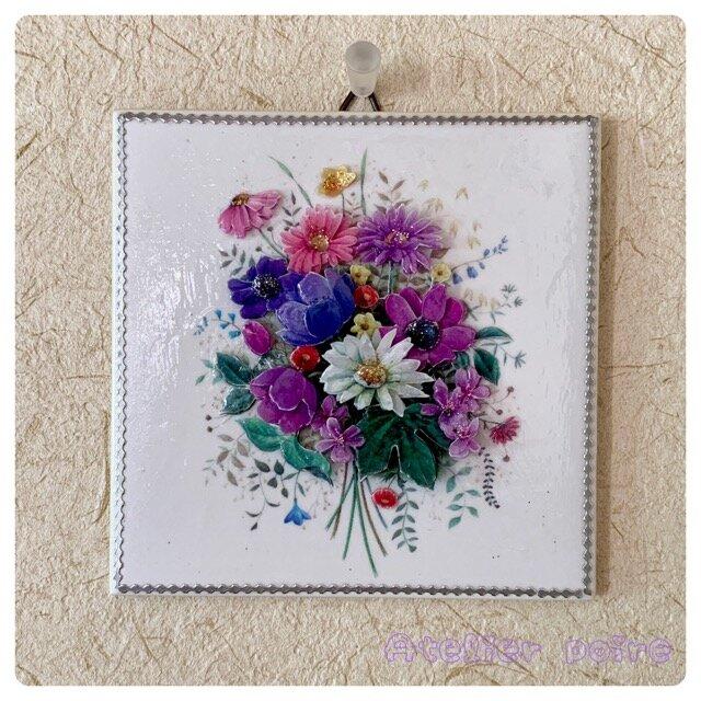 3Dアート(シャドーボックス)*清楚な花束の画像1枚目