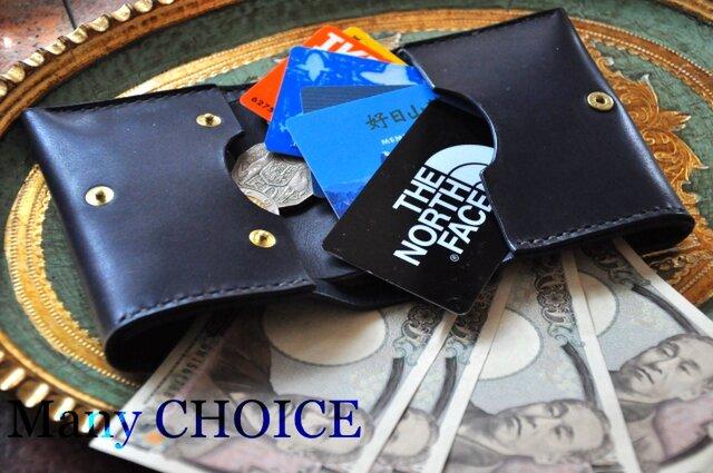 イタリアンバケッタ・エルバマット・コンパクト2つ折り財布(紺)の画像1枚目
