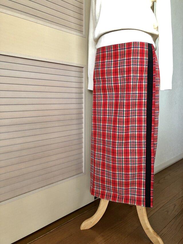 送料込・2wayチェックの巻きスカート赤・ロングタイトの画像1枚目
