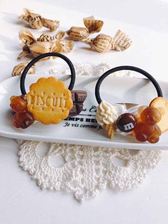 お菓子のヘアゴム  ビスケット&チョコとくまグミ  2点セット  chocolate  フェイクスイーツの画像1枚目