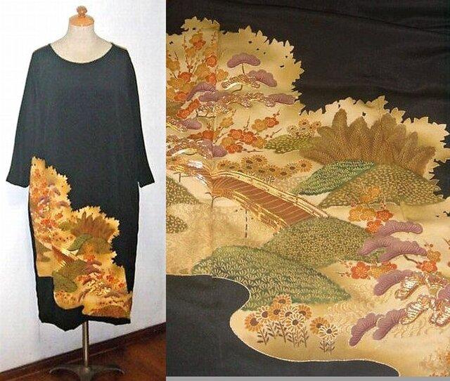 着物リメイク♪梅・松・花模様が素敵なアンティークの留袖ゆったりワンピース♪ハンドメイド♪の画像1枚目