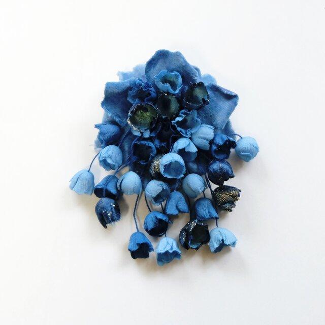 コサージュ木藍染めの画像1枚目