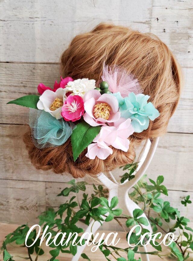 funwari チュールと椿の髪飾り10点Set No398  卒業式 袴の画像1枚目