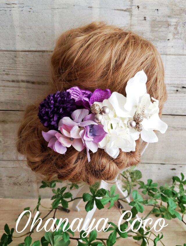 hirahira 胡蝶蘭とパープル系お花の髪飾り7点Set No400 袴卒業式の画像1枚目