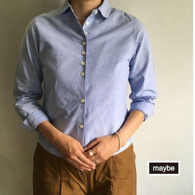 【受注生産】オックスのシャツ・丸衿  #ブルー<プチトラッド> の画像1枚目