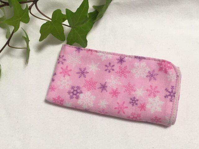 ガーゼハンカチ 雪の結晶 ピンク 30サイズの画像1枚目