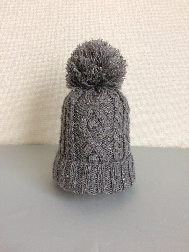 ニット帽ラムウールグレー系ボンボン付きの画像1枚目
