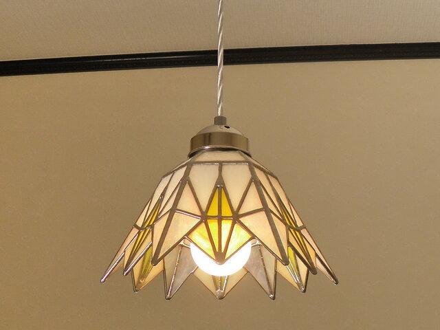 ペンダントライト・イエローダイヤ(ステンドグラス)天井のおしゃれガラス照明 Lサイズ・(コード長さ調節可)25 の画像1枚目