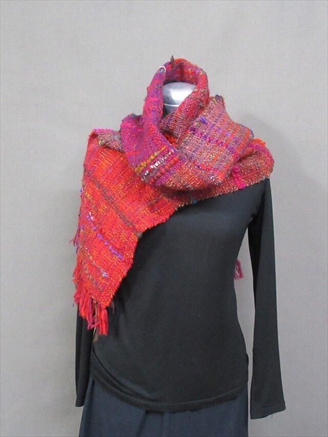手織りマフラー(赤)s18-166の画像1枚目