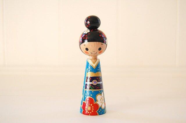[conocokeshi]指人形・hand puppet[51]お団子頭お着物の画像1枚目