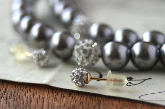 卒業式/入学式*2点セットロングパールネックレス 14kgfビジューピアス シルバー 卒園式 入園式 ウエディング 結婚式 真珠の画像1枚目