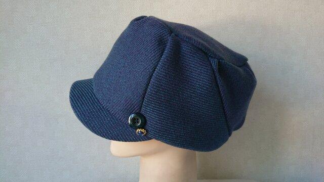 魅せる帽子☆キラリ♪飾りボタンが素敵!ウールのキャスケット~ブルーグリーンの画像1枚目