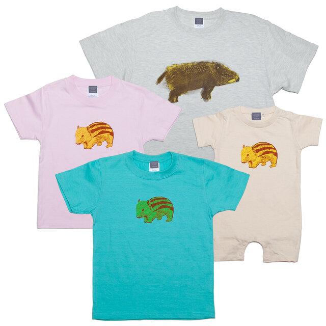 イノシシ 動物 キッズ Tシャツ (亥年)90~160cm、ベビー ロンパース 70~80cm Tcollectorの画像1枚目