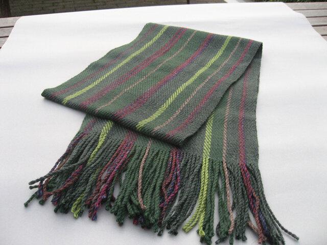 手織り マフラー 手染め カシミア  MUF125A  グリーン プレゼント 緑 男女共用の画像1枚目
